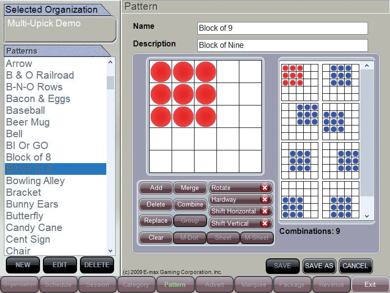Bingo Game Pattern Screen