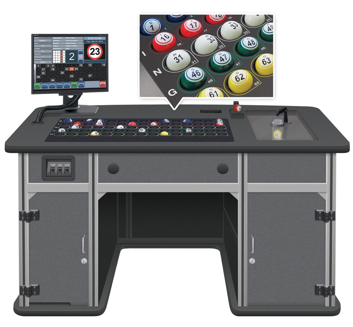 Statesman Premier Bingo Console with Color Code Ball Tray