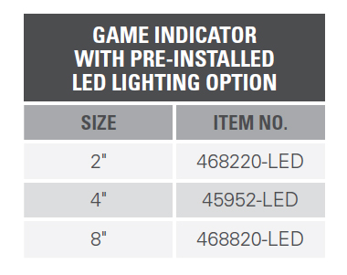 GAME INDICATOR WITH PRE-INSTALLED LED LIGHTING OPTION