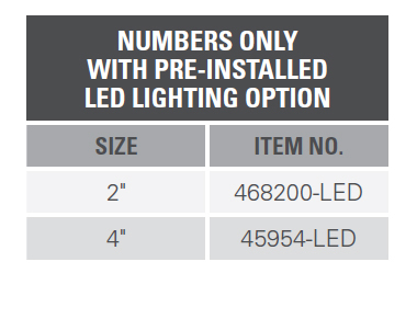 NUMBERS ONLY WITH PRE-INSTALLED LED LIGHTING OPTION