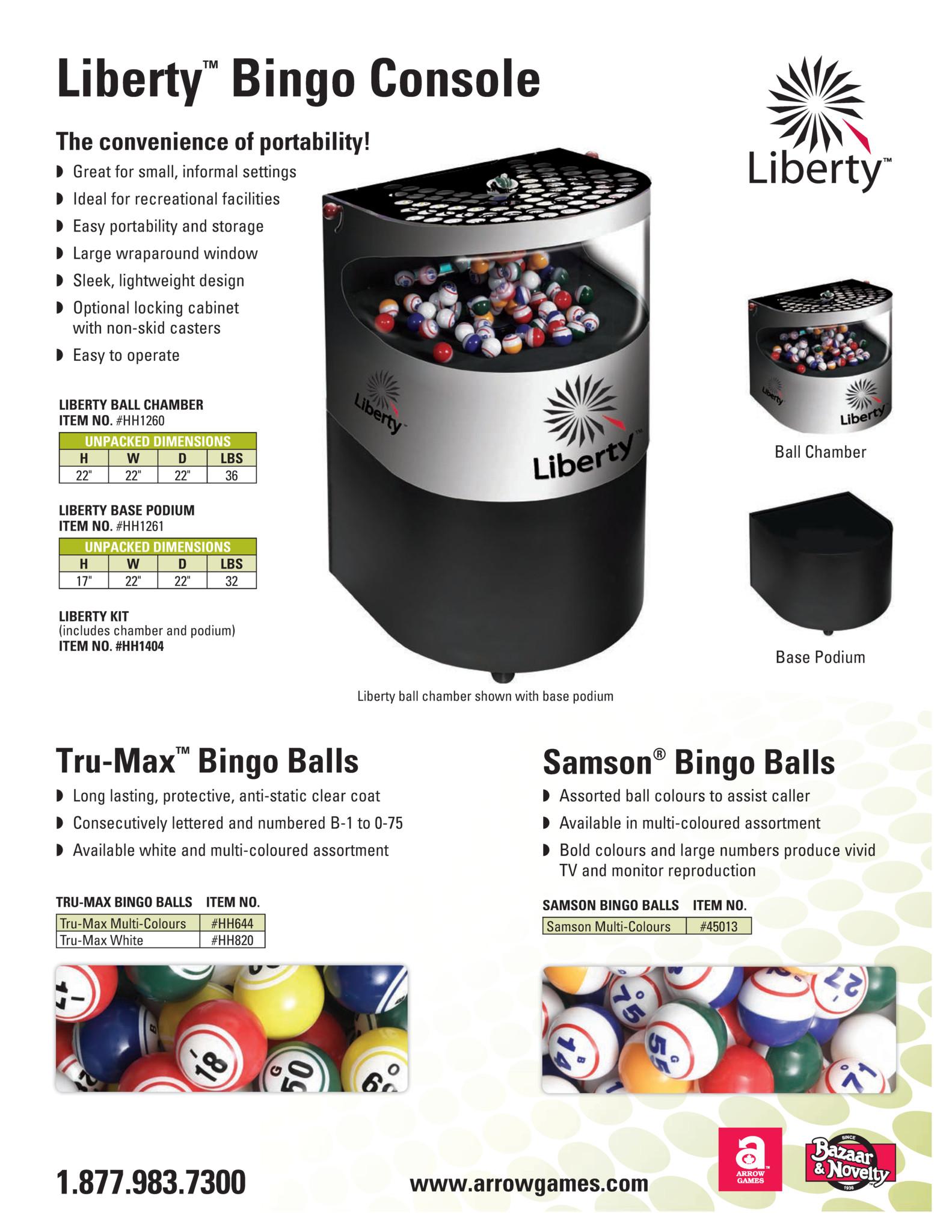 Liberty Bingo Console Flyer Promotional Materials/Equipment Flyers & Brochures