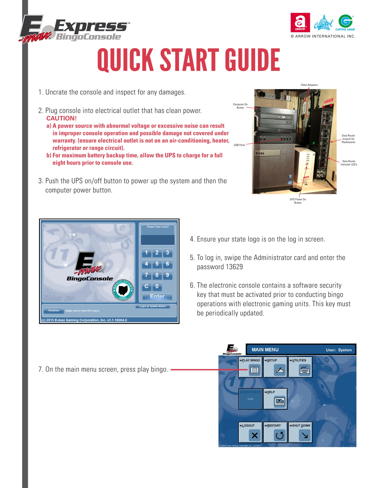 E-max Express Quick Start Guide  Equipment Manuals/Quick Start Guides