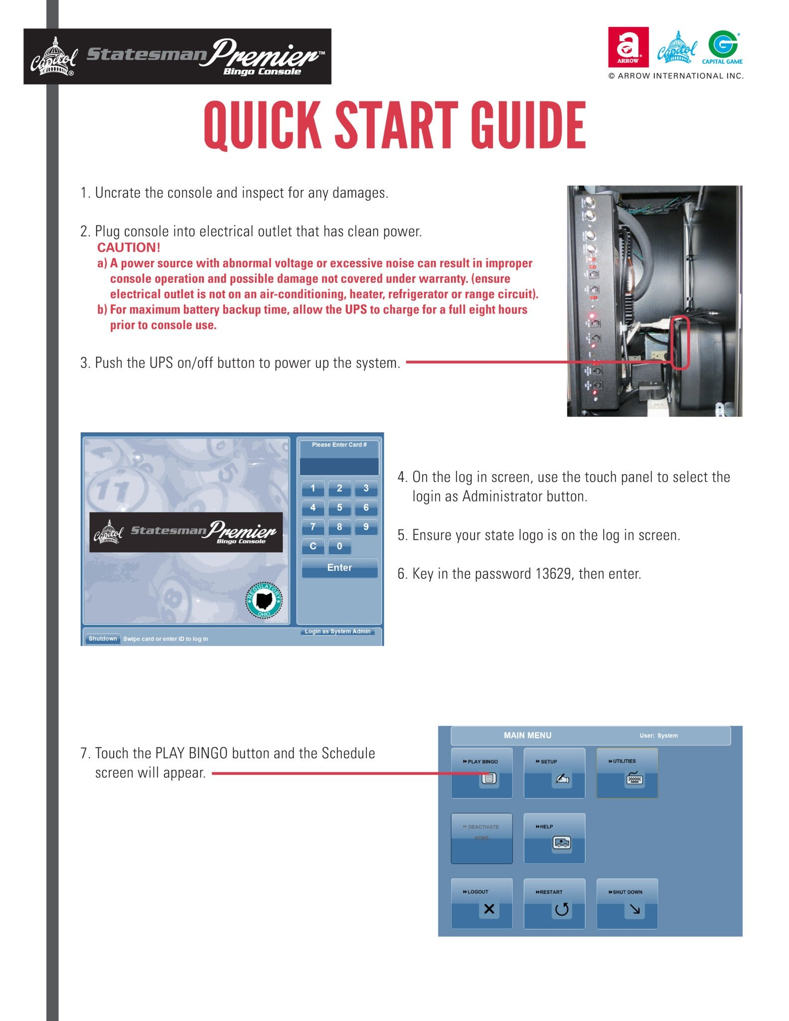 Statesman Premier Quick Start Guide Equipment Manuals/Quick Start Guides